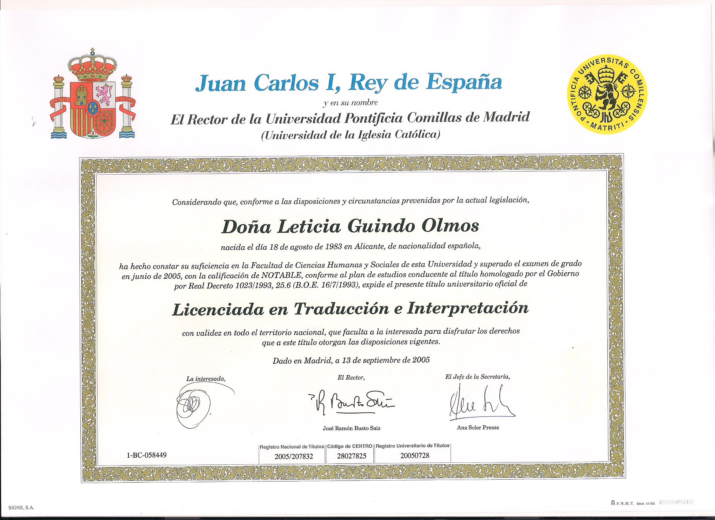curriculum leticia guindo int eacute rprete jurado traductora language combination english french german <> spanish first class honors in oral and written expression